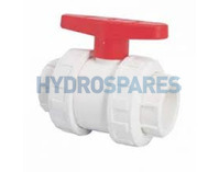 "PVC Ball Valve Double Union 1.5"" White"