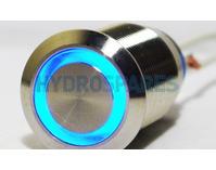 22mm Piezo Switch - 24 Volt - Brushed Steel - Blue LED