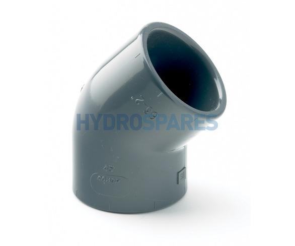 """3.00"""" Inch PVC Elbow 45° - Equal  Grey"""