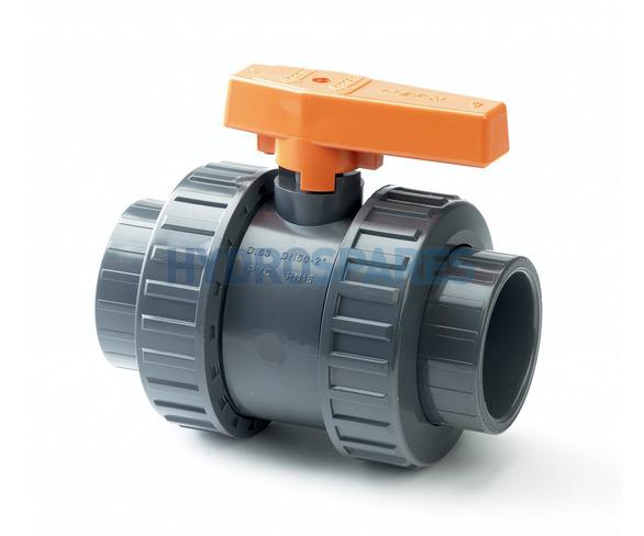 PVC Ball Valve - Double Union 32mm - Grey