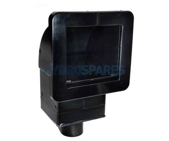 Square Spa Skimmer - Front access - Flow Control With Trim Plate - Black