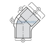1-1/2 Inch PVC Elbow 45° - Street