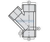 20mm PVC Y Piece 45° - Equal