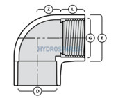 PVC Elbow 90° - Glued x Threaded Socket
