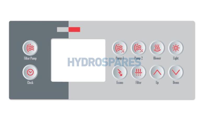 Overlay TSC-10-10 Only - 9916-100761 (Pump 3, Pump 1, Pump 2, Blower, Light, Clock, Economy, Filter, Up, Down)